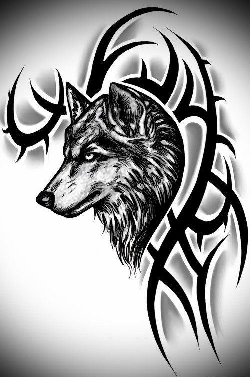 Delectable uncolored wolf and trible sign tattoo design