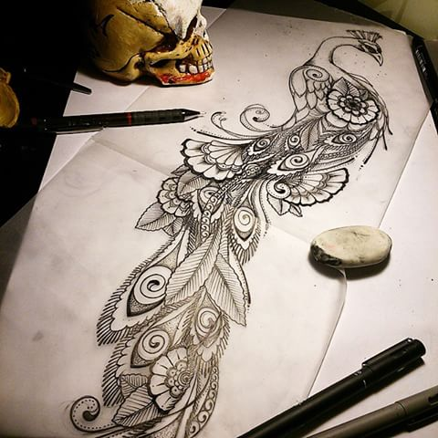 black and white peacock tattoos - Google Search (With ...  |Peacock Tattoo Black And White