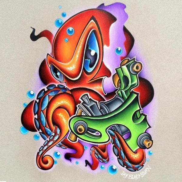 delightful colorful new school octopus tattoo design. Black Bedroom Furniture Sets. Home Design Ideas