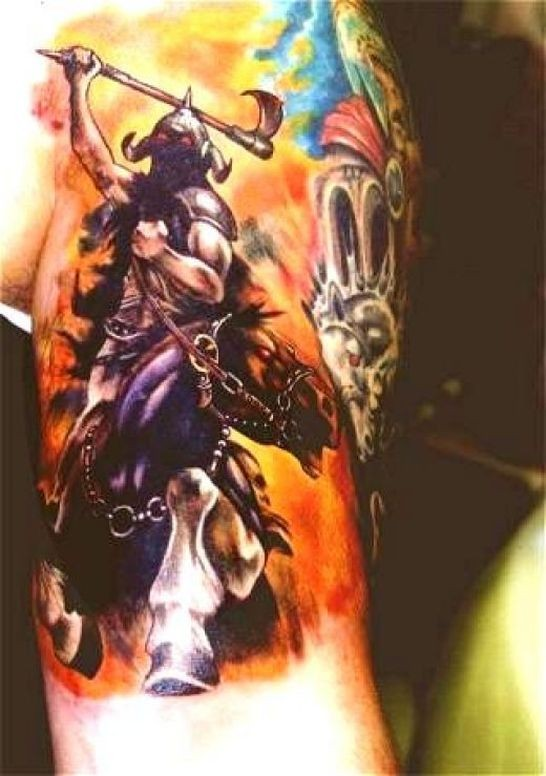 Demon Viking warrior on horseback tattoo on shoulder