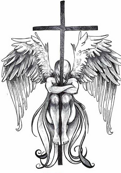 Depressed angel embracing a cross in black colors tattoo design