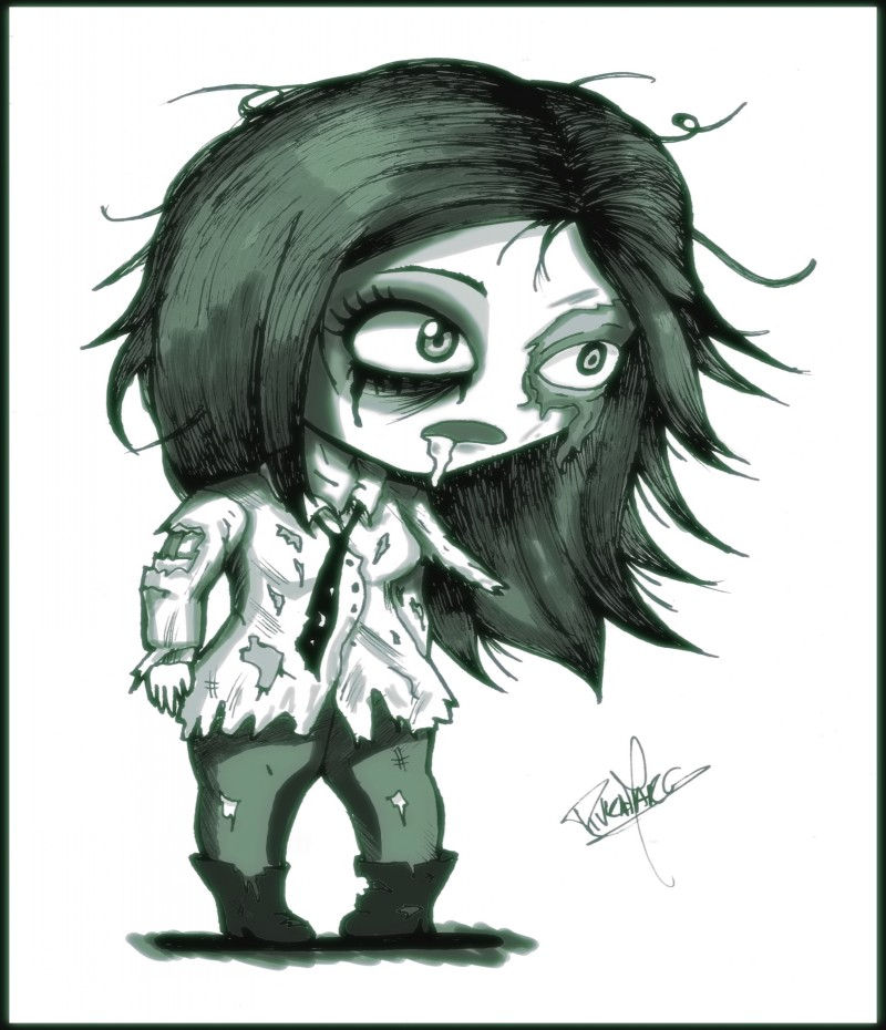 Depressed black-and-white zombie girl in mans shirt tattoo design