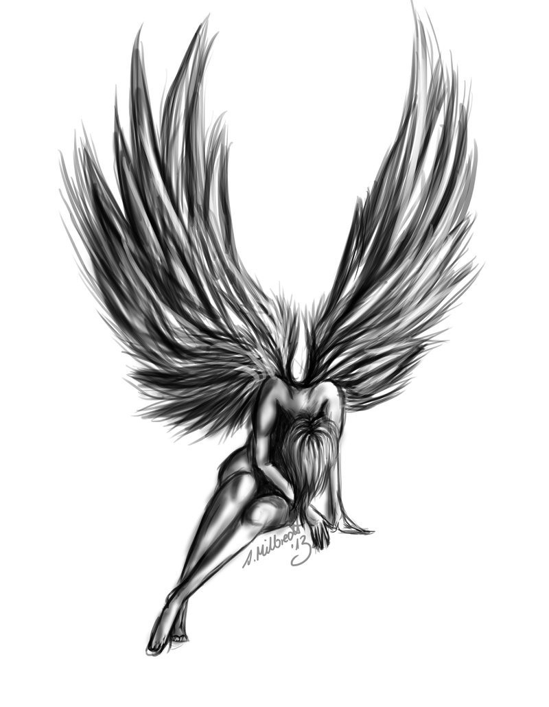 Depressed black-ink angel girl with lifted down head tattoo design