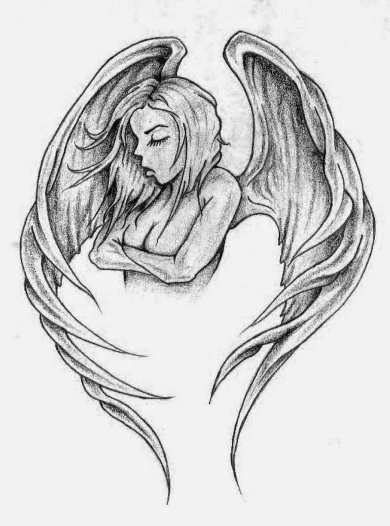 Despite pencilwork angel girl with crossed arms on chest tattoo design