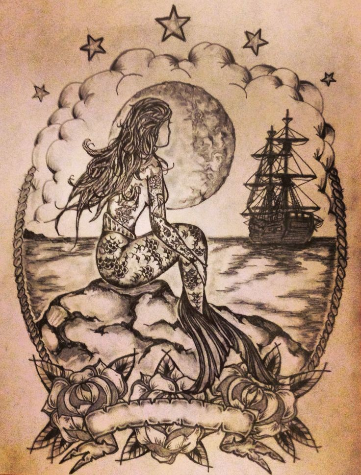 Detailed black-ink tattooed mermaid sitting on rock and watching a ship tattoo design
