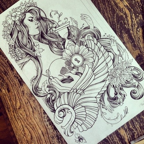 Detailed grey-ink mermaid with long wavy hair tattoo design