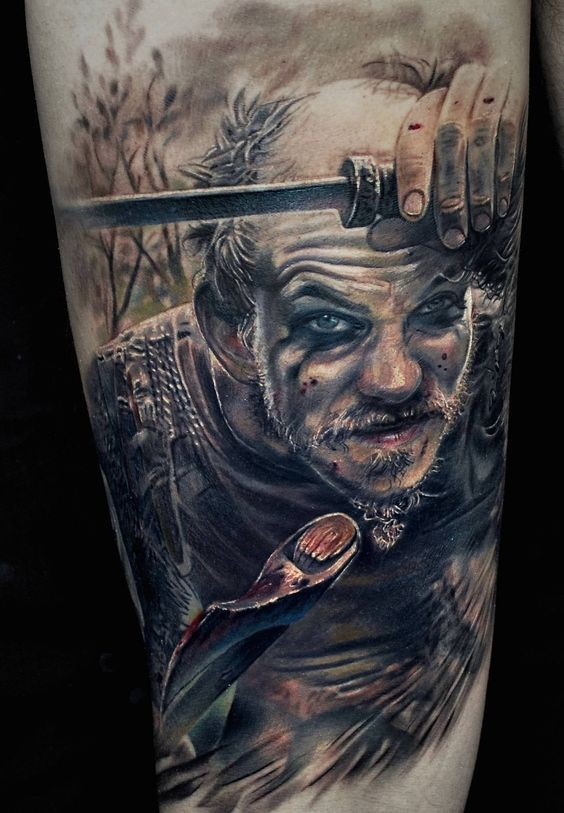 Detailed tattoo of viking portrait by  Marispavlo