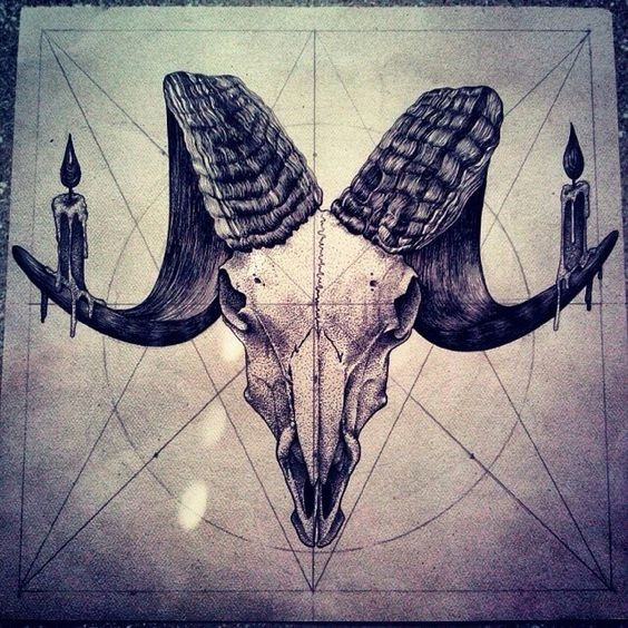 Devilish ram skull with candles on mystic sign background tattoo design