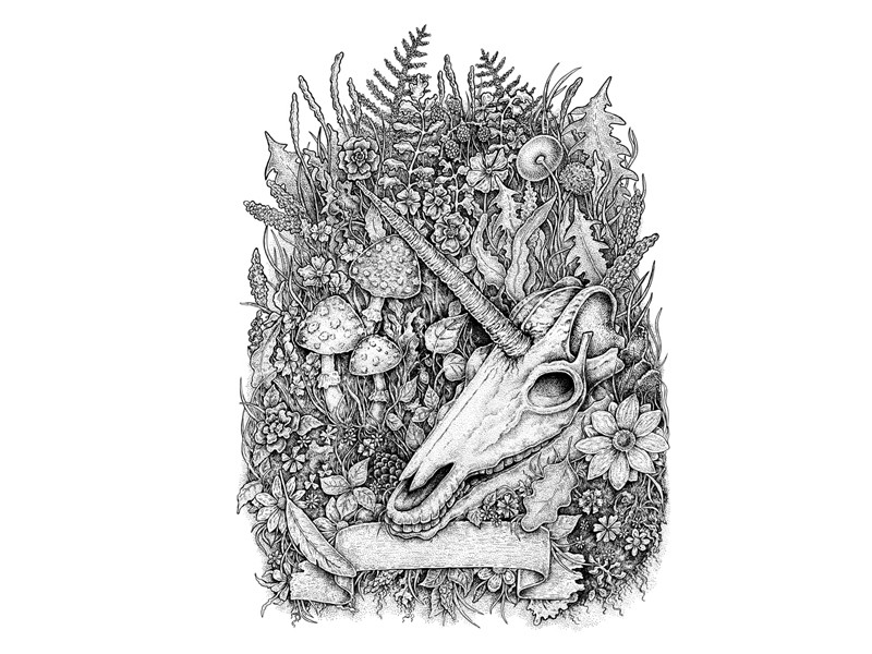 Died grey-ink unicorn skull lying on rich-growing grass with empty banner tattoo design