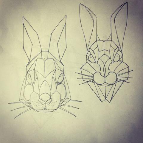 Different geometric-style hare muzzles tattoo design