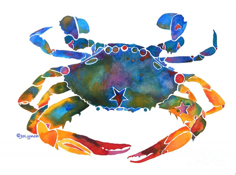 Difficult-colored painting static crab tattoo design