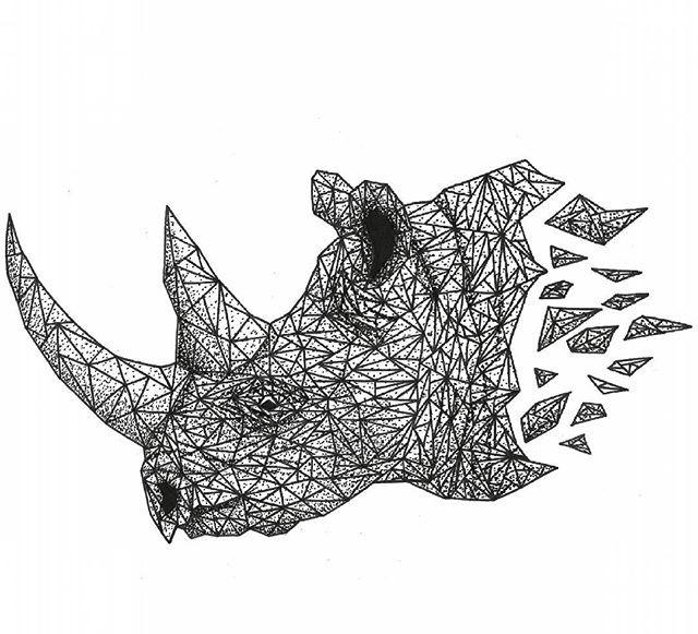 Difficult dotwork and geometric style rhino head tattoo design