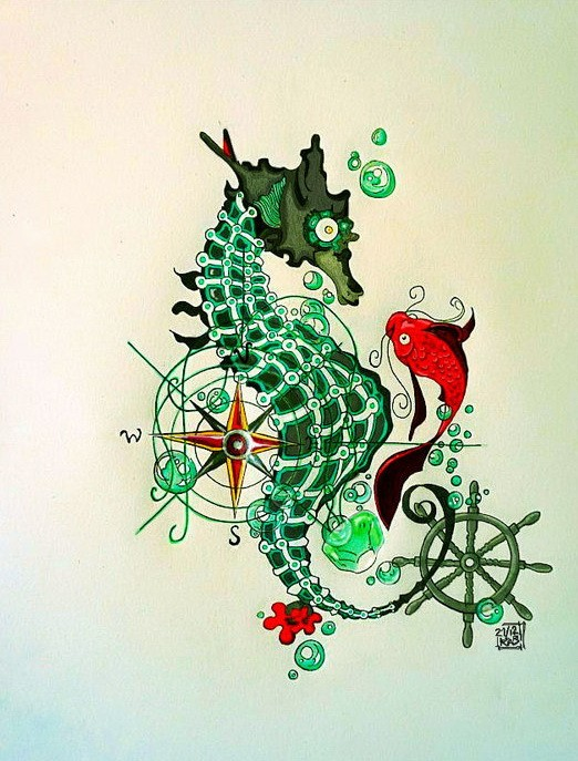 Difficult green detailed seahorse and red fish tattoo design by Kappy Yuki