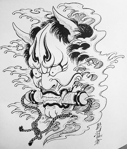 Dire black-and-white devil head with a scroll in the mouth tattoo design
