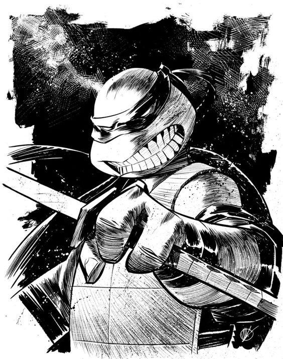 Dire black-and-white ninja mutant turtle tattoo design