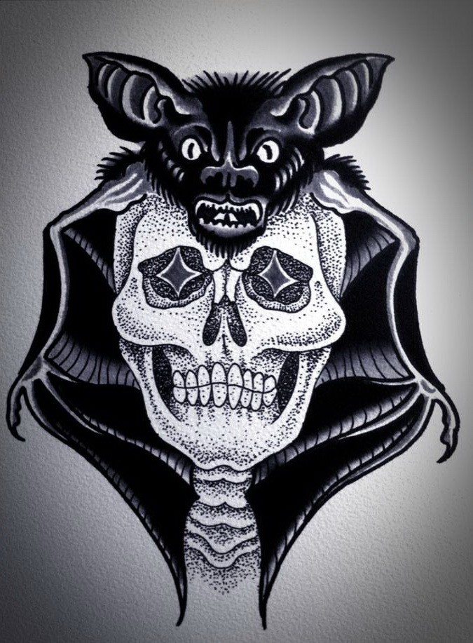 Dire black bat and skull in old school style tattoo design