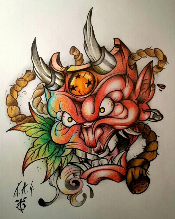 Dire colorful devil mask with ropes and leaves tattoo design