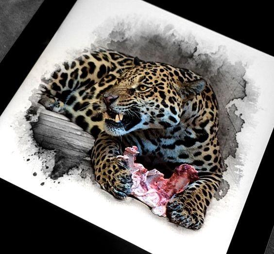 Dire colorful jaguar with bone lying on wooden bar tattoo design