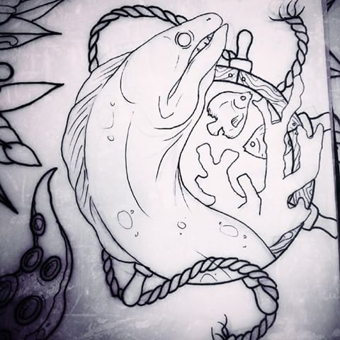 Dire colorless water animal and roped woodet marine steering wheel tattoo design