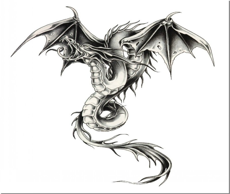 Dire Grey Ink Flying Dragon Tattoo Design Tattooimages Biz