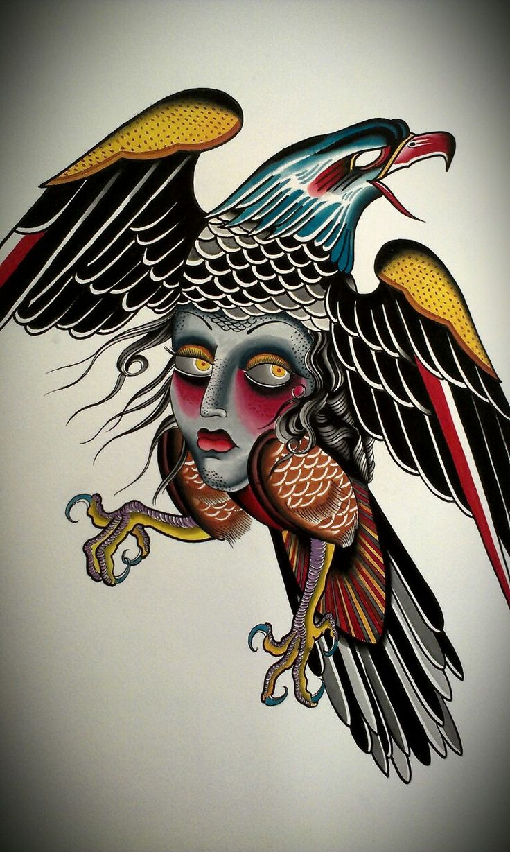 Dire old school eagle with girl face patterned belly tattoo design