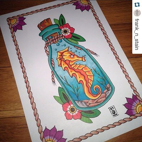 Dire orange seahorse locked in bottle with flowers tattoo design