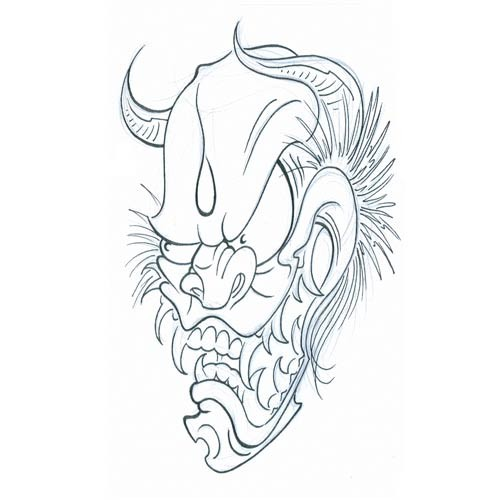 Dire outline devil head in cartoon style tattoo design