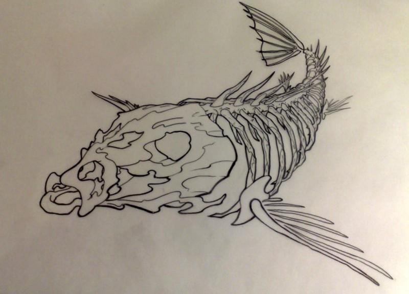 Dire outline diving fish skeleton tattoo design