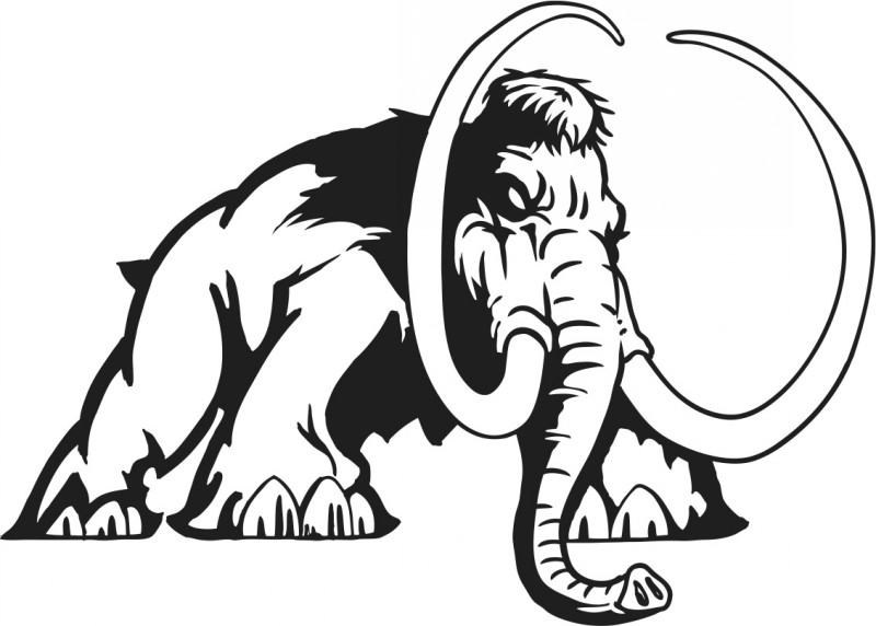 Dire outline mammoth attacking his prey tattoo design