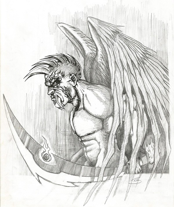 Dire pencilwork angel warrior with a giant dagger tattoo design