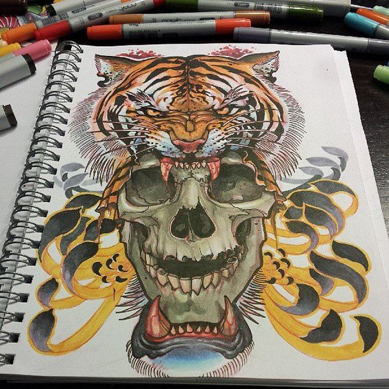 Dire tiger with huge skull in blooded teeth tattoo design