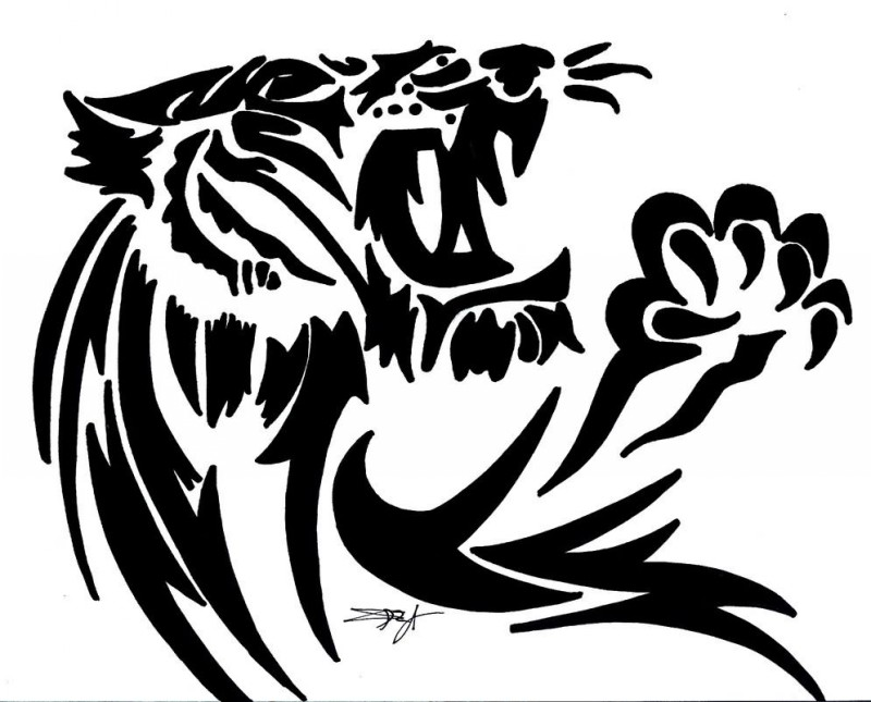 Dire tribal panther with sharp-clutcher paw tattoo design