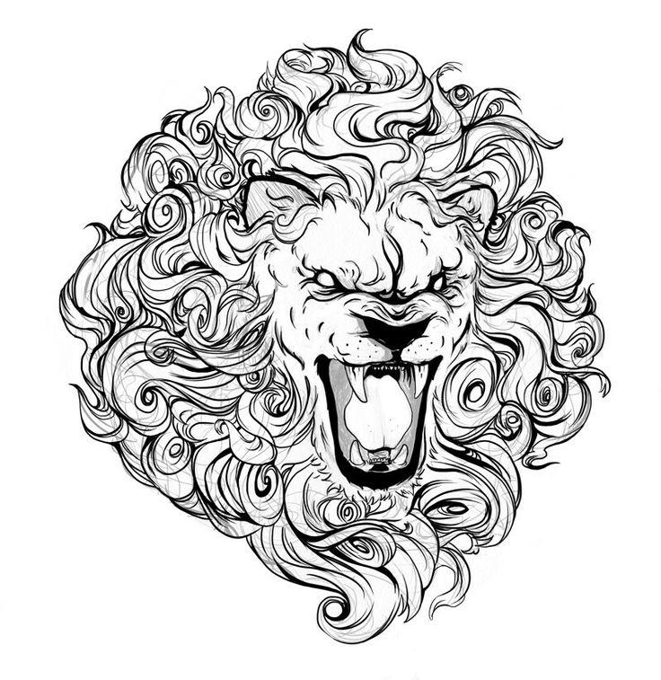 Dire uncolored curled-mane lion head tattoo design