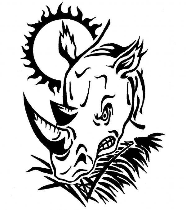 Dire uncolored rhino head and shining sun tattoo design