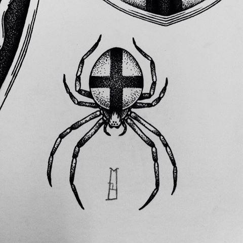 Dorwork spider with cross print on back tattoo design
