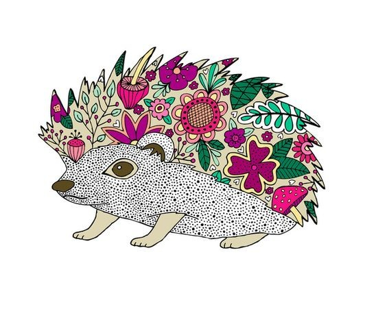 Dotted hedgehog with multicolor floral spines tattoo design