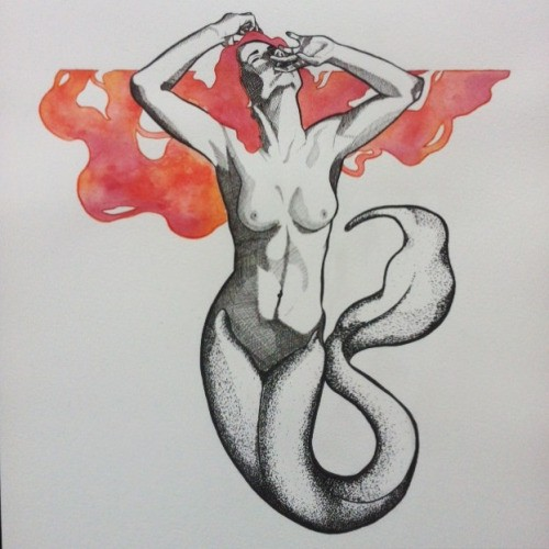 Dotwork-body mermaid with red watercolor hair tattoo design