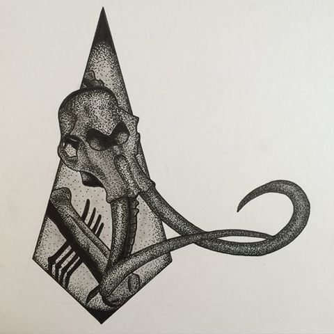 Dotwork-style mammoth skull on rhombus frame background tattoo design