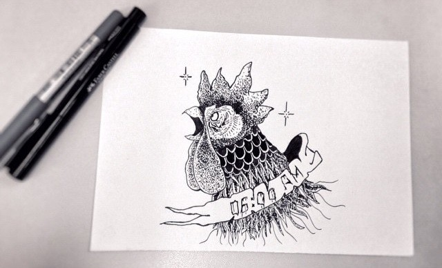 Dotwork-style rooster head with banner on neck tattoo design