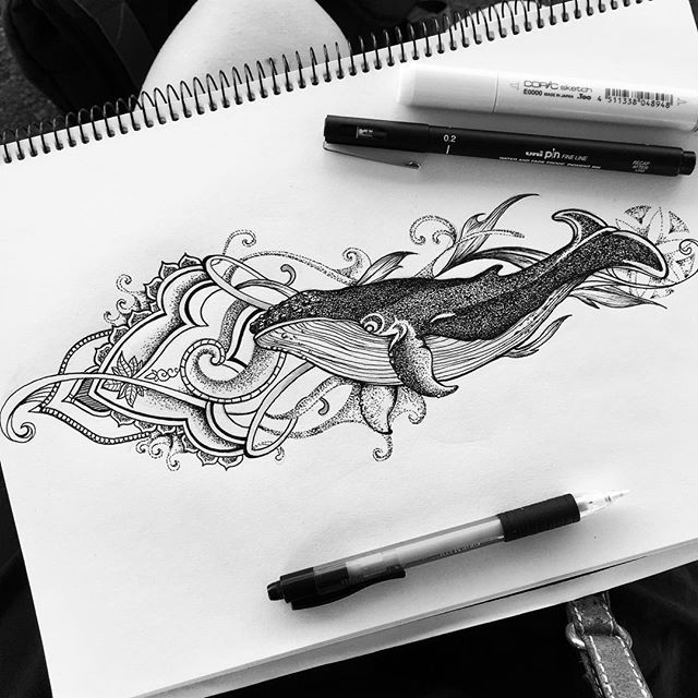 Dotwork-style water animal swimming on ornate background tattoo design