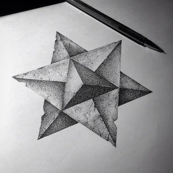 Dotwork 3D triangle-shaped starfish tattoo design