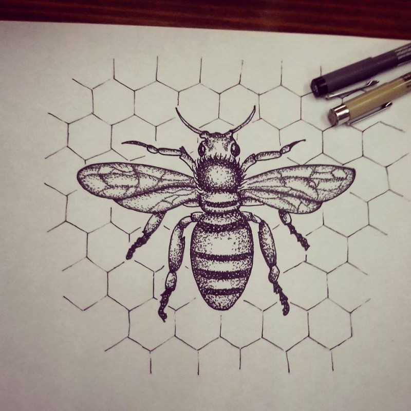 Dotwork bee on simple honeycomb background tattoo design