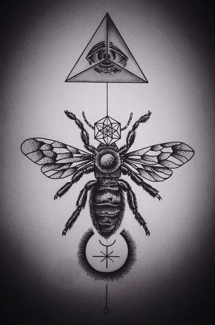 Dotwork bee with illuminati symbol and geometric elements tattoo design