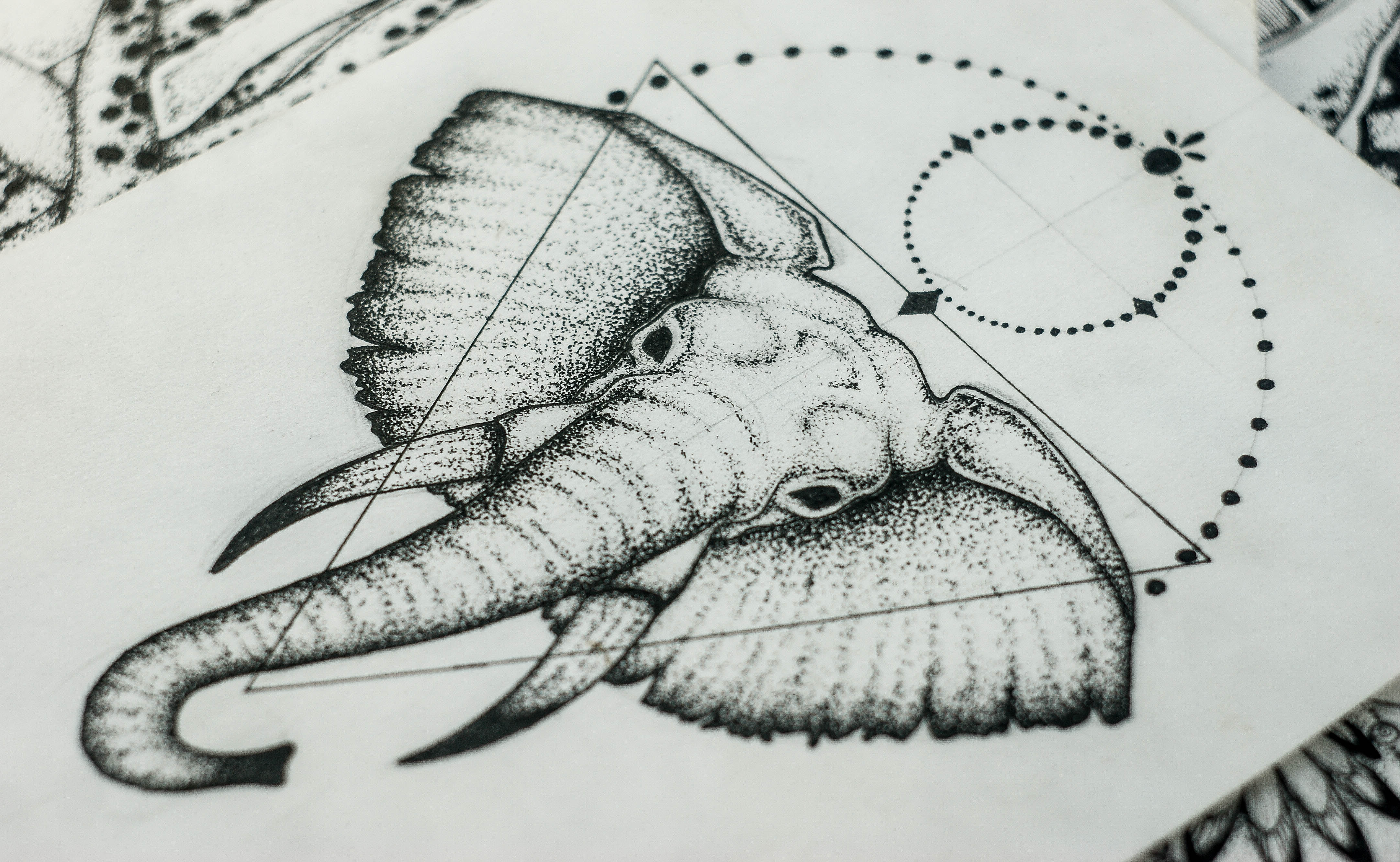 Dotwork black-eyed elephant with geometric drawings tattoo design by Askaraya