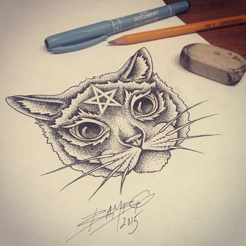 Dotwork cat face with sacred sign on a forehead tattoo design