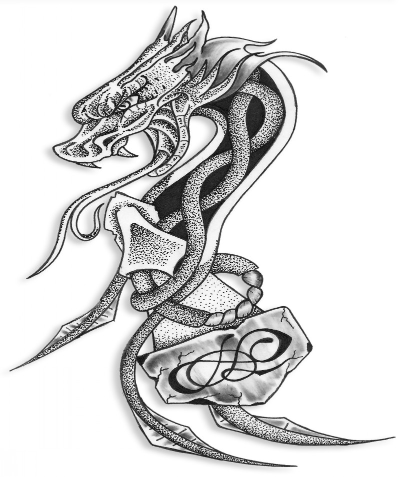 Dotwork celtic dragon with a heavy hummer tattoo design