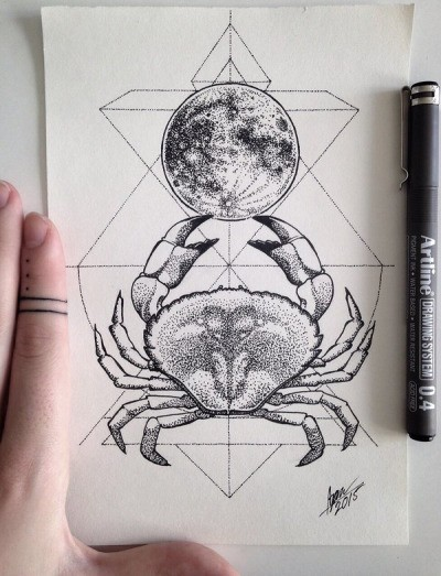 Dotwork crab and full moon with geometric drawings tattoo design