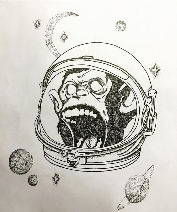 dotwork crying monkey astronaut in helmet tattoo design. Black Bedroom Furniture Sets. Home Design Ideas