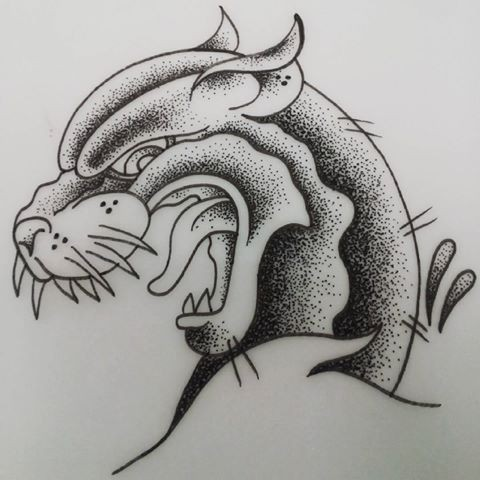 Dotwork crying panther head in profile tattoo design