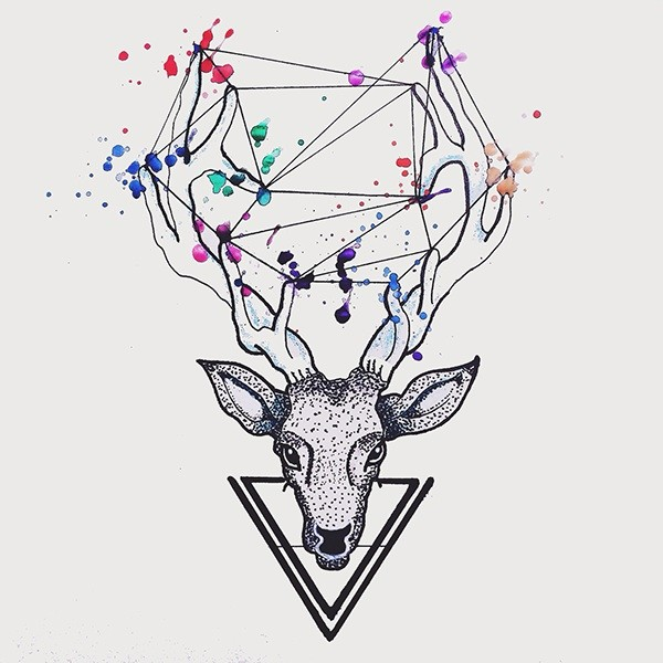 Dotwork deer head with colorful spots on horns tattoo design